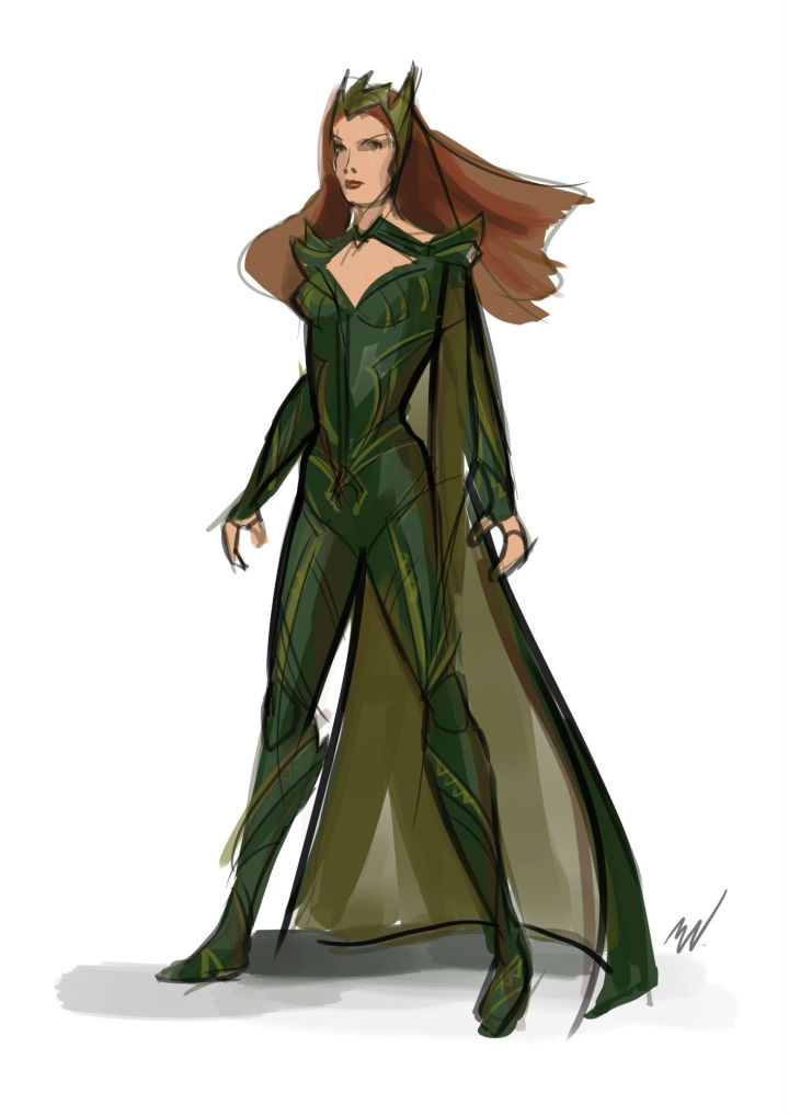 Un dessin du designer Michael Wilkinson pour le costume de Mera dans Justice League. CREDIT: © 2016 Warner Bros. Entertainment Inc./ ™ & © DC Comics